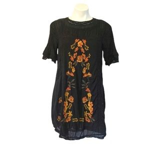 Free People Black Floral Embroidered Shift Dress